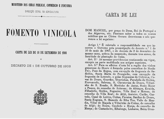 Foto 3 Carta Lei 1908 4 O Sector dos Vinhos em Portugal  O Sector dos Vinhos em Portugal  Foto 3 Carta Lei 1908 4