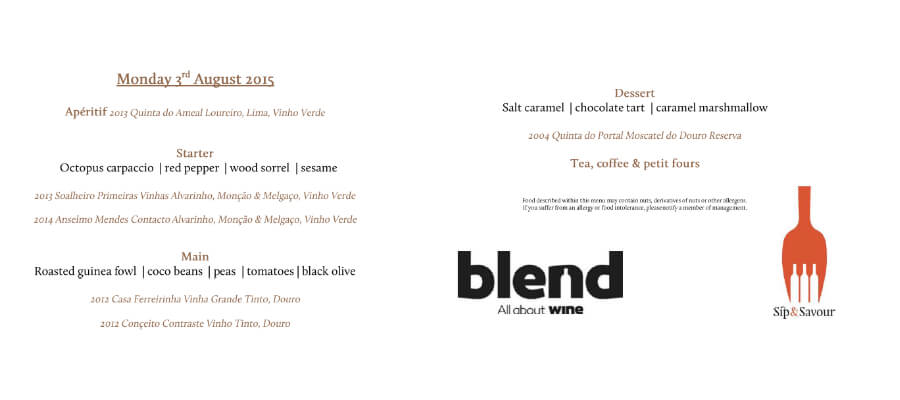 Blend-All-About-Wine-Sip-and-Savour-Menu blend Quando a Blend conheceu a Sip & Savour e o Fogo encontrou a Água Blend All About Wine Sip and Savour Menu